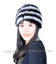 Cx-c-36c женщин трикотажные зимний мех норки шляпа