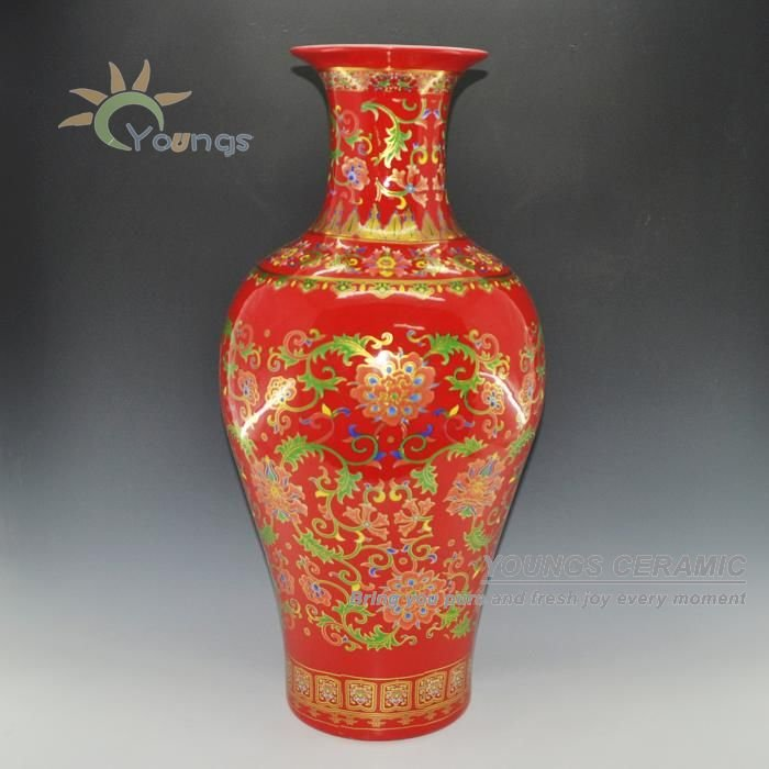 Chinese red porcelain fish tall vase with gold flower model H 69 CM on bucket with top, chair with top, bottle with top, plate with top, cup with top, gold with top, pen with top, basket with top, box with top, bench with top, mug with top, bed with top, urn with top, dish with top, cabinet with top, desk with top, shoes with top, platter with top, white with top, bowls with top,