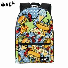 2016 ONE2 дизайн гамбургер рисунок печать популярные рюкзак нейлон фирменных колледж милый рюкзак модный ноутбук для девочек