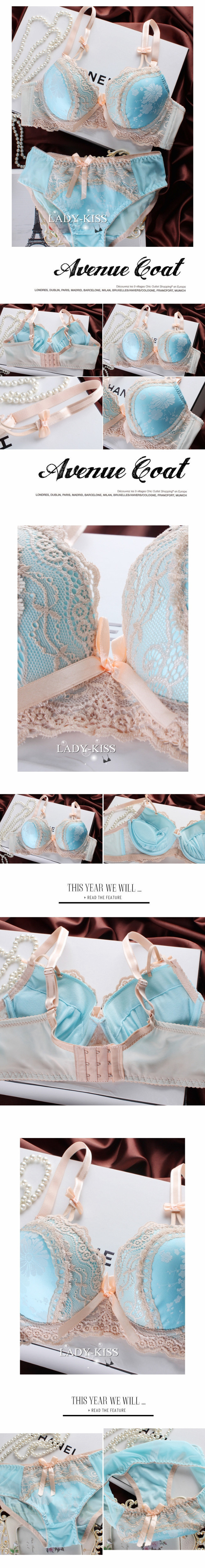 Free shipping 2014 new fashion palace thick underwear adjustable spaghetti straps girl sexy push up 3 breasted blue bra suit.7