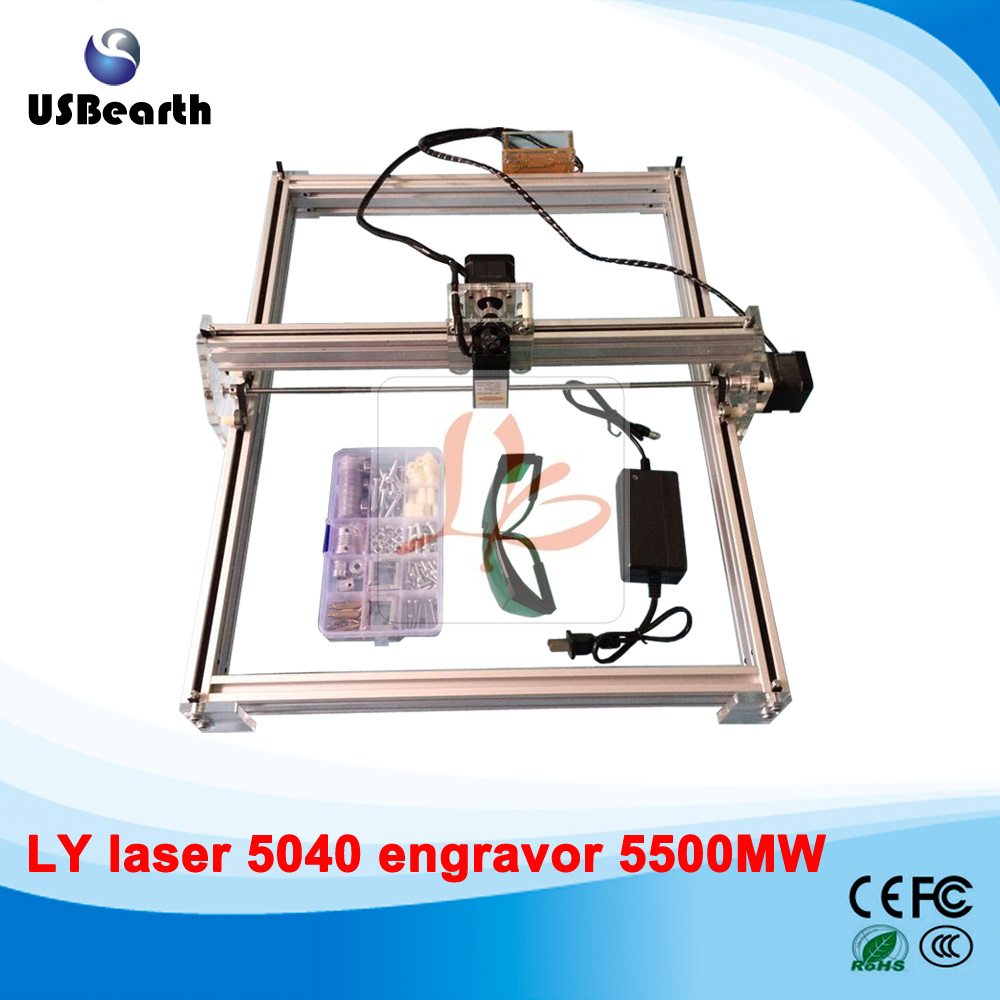 5500MW Desktop DIY Violet LY 5040 Laser Engraving Machine Picture CNC Printer 50*40CM, free tax to Russia eur free tax cnc 6040z frame of engraving and milling machine for diy cnc router