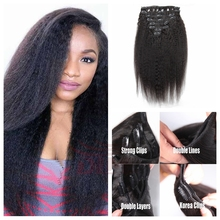 Black Woman Brazilian Virgin Hair Remy Clip In Hair Extension Full Head 100-200Gram Clip In Weave Natural Color Kinky Straight