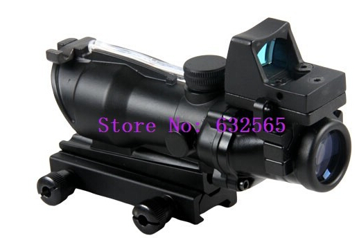 Tactical Trijicon 4x32 ACOG Style w/ Mini Red Dot Scope With Real Green Fiber For Hunting free shipping tactical trijicon acog style 4x32 real fiber optics red illuminated crosshair scope w rmr micro red dot hunting riflescopes