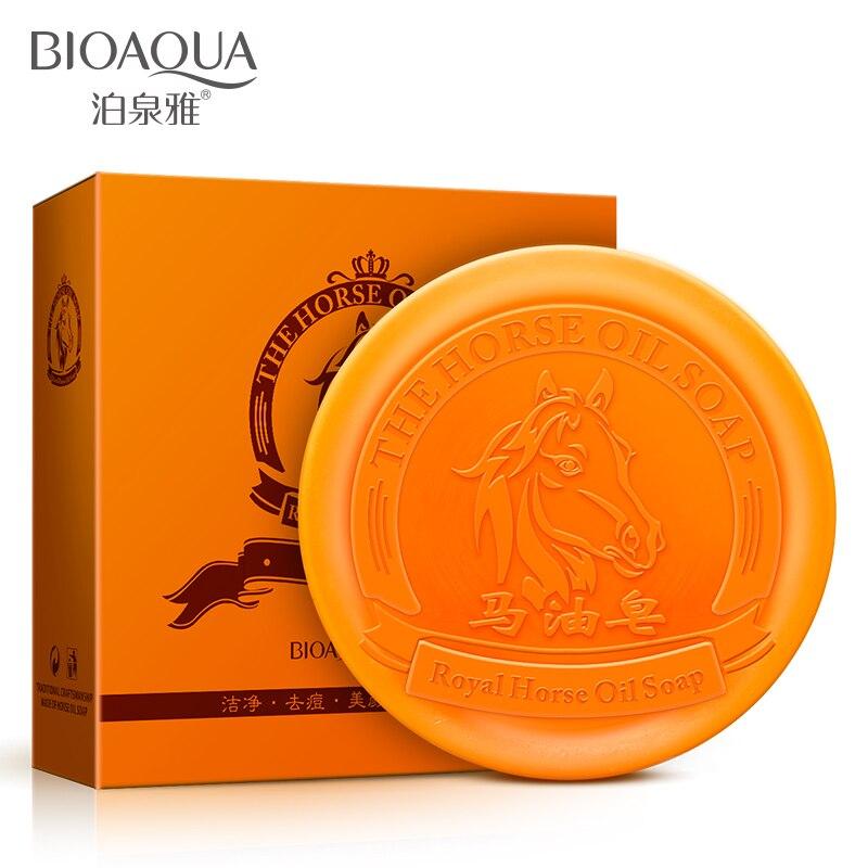 BIOAQUA שמן סוס טבעי בעבודת יד ניקוי עמוק לחות ומזין תמצית סבון