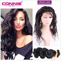 Brazilian Hair Weave Bundles With 360 Lace Frontal Band Closure Brazilian Virgin Hair With 360 Full Frontal Band Closure Connie