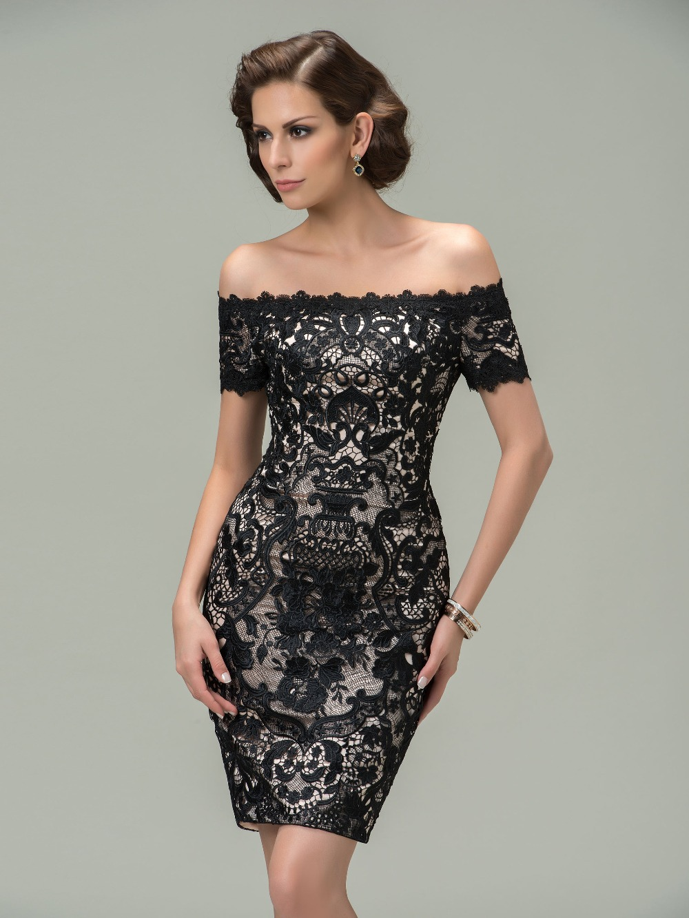 Aliexpress.com : Buy Hot Trendy Short Black Lace Cocktail Dresses ...