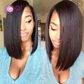 Gq 8A человеческих волос боб парик с большую сторону челкой glueless полные парики и фронта короткий стиль боб для чернокожих женщин волосы ребенка