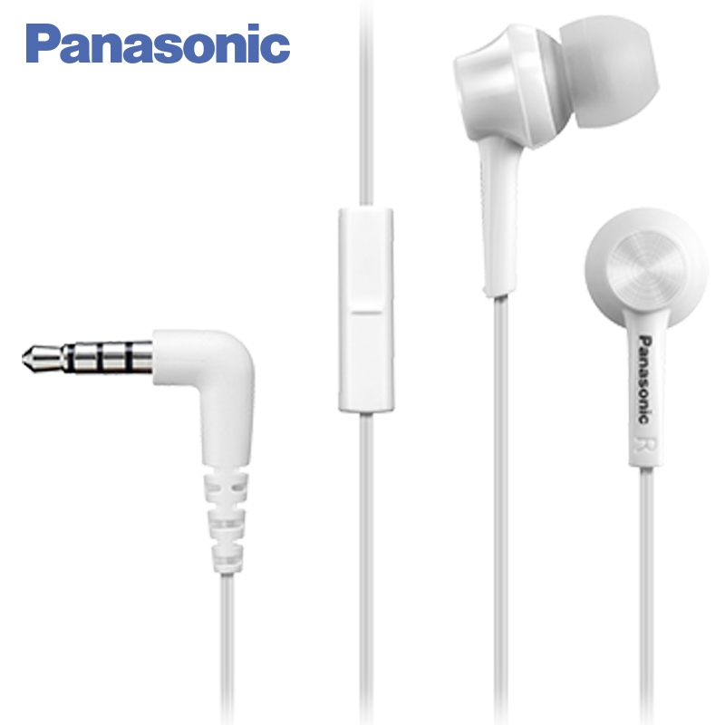 Panasonic RP-TCM105E-W In-ear earphone wired, headset fone. universal in ear earphone w mic cable control white yellow green 3 5mm plug