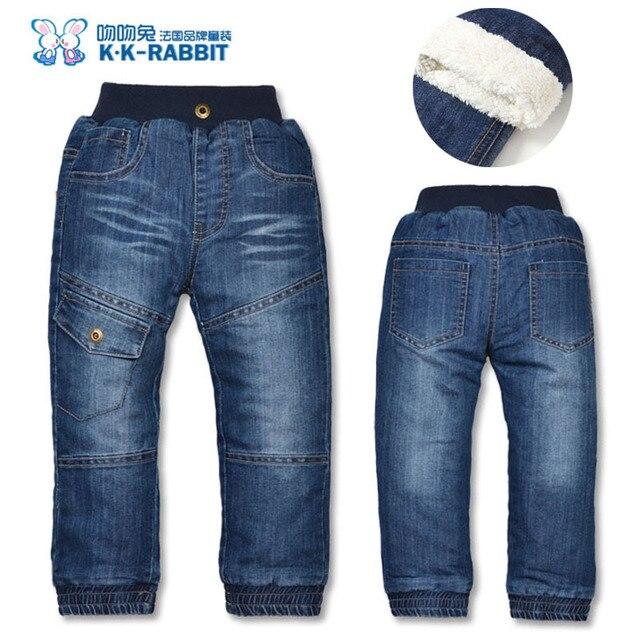 Высокое качество KK-КРОЛИК Зимой Толстые Модные Брюки для Мальчиков Детские Брюки Девочек Детские Дети Джинсы