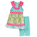 Latest Style Children Spring Summer Clothing Bib Cotton Top Soild Color Pants Boutique Baby Girls Sets With Cheap Price S015