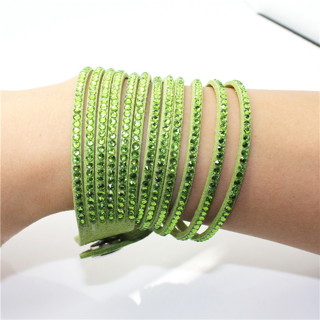 Fashion 6 Layer Wrap Bracelets Slake Leather Bracelets With Crystals Couple Jewelry womans bracelet 16