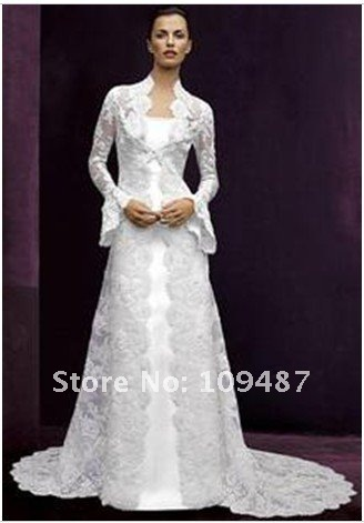 Lace Horn Long Sleeved Tail Coat Harness Two Piece Wedding Dress Factory Outlet