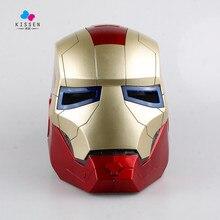 Kissen Iron Man Motorcycle Helmet Mask Tony Stark Mark 7 Cosplay Mask with LED Light