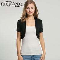 Meaneor Autumn Spring Tank Top Short Sleeve Knitted Pleated Side Cardigan Women Jacket Crop Top Bolero