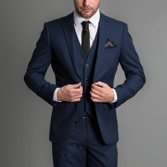 2018 Custom made Navy Handsome Wedding Groomsmen Suits Party Prom ...