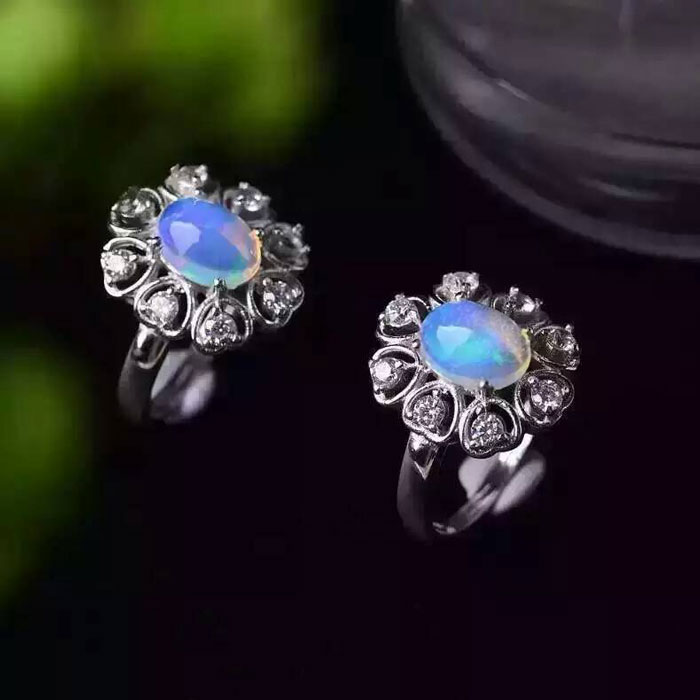 Opale naturelle gemmes anneau véritable solide 925 en argent sterling pierre taille 7*9mm femme fine couleur pierres bijoux - 3