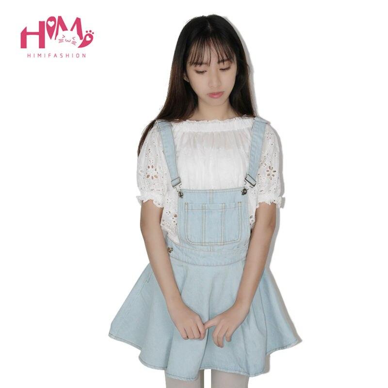 Vivi Japan Sstrap School Denim Dress For Ladies Dark Blue Removable Summer Detachable Student Overalls Dress Women Kawaii Cloth 2