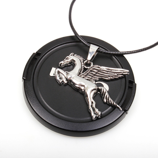 Vintage Angel Horse Leather Necklace