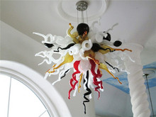 New Arrival Crystal LED Designed Murano Glass Chihuly Style Smart Colored Home Decoration Chain Ceiling Chandelier