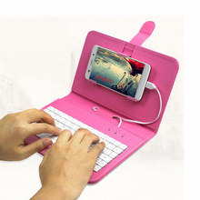 7 Colors Leather Case with USB Keyboard for Most Android System Mobile Phone Flip Cover with Stand Mini Wired Keyboard