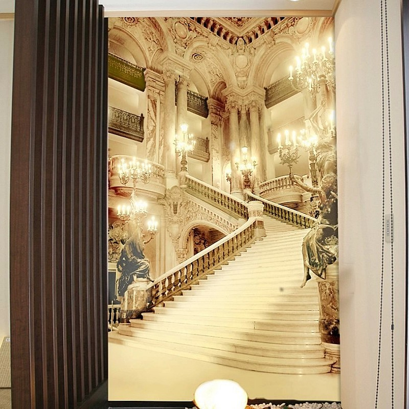 Купить с кэшбэком 3d murals living room entrance wallpaper wedding photography background walls painting palace stairsl 3d wallpaper Beibehang