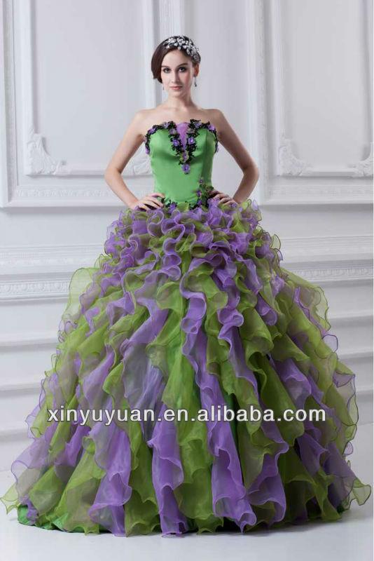 Purple and Green Prom Dress