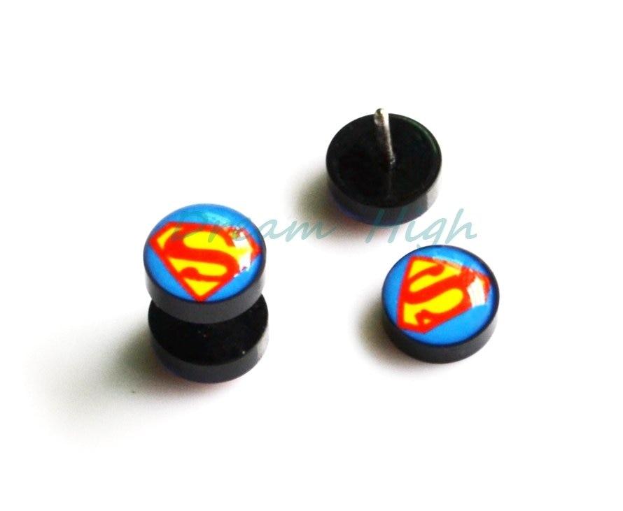 Серьга гвоздь УФ акриловая штанга двойные логотипы пост Супермен искуственный Растяжитель Для ушных тоннелей 10 мм шар Высокое качество подарок
