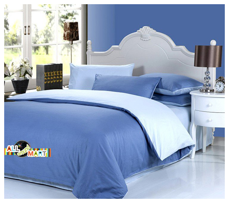 Superior Free Shipping 4pcs Cotton Contrast Color Bedding Set Duvet Cover Comforter  Set Bed Sheet Aqua Blue And Light Blue Comfortable In Bedding Sets From  Home ...