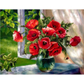 NEW 3D Diamond Painting Cross Stitch Red Floral Vase Crystal Needlework Diamond Embroidery Flower Full Diamond Decorative LX