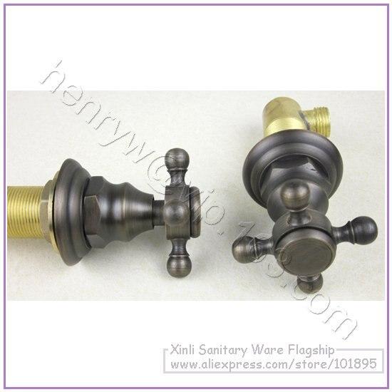 L16313-роскошная Горячая и холодная вода бронзового цвета с двойной ручкой латунный Смеситель для раковины