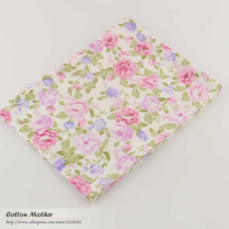 100% Katun Twill Kain Jahit Berwarna Merah Muda, Merah Muda Rose Bunga Kain Desain Tekstil Tecido Jaringan Patchwork Tempat Quilting Lemak Quarter