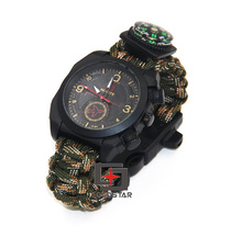 New Arrival Multicam Outdoor Camping Travel Kit Watch With Survival Flint Fire Starter Paracord Compass Rescue Whistle Rope