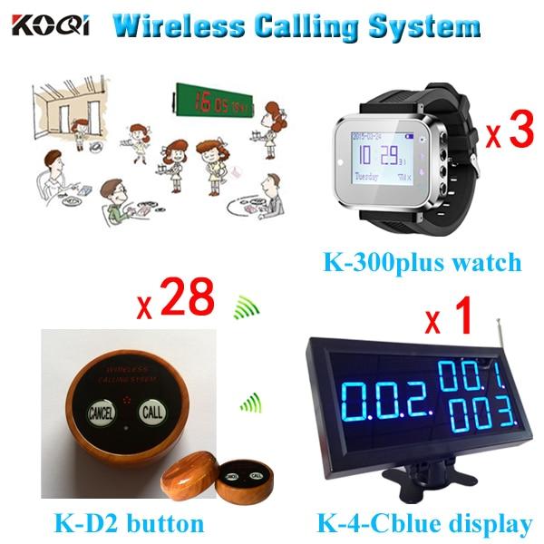 Téléavertisseur de montre-bracelet d'appel de serveur sans fil, système de radiomessagerie de serveur fonctionnel, système d'appel de Restaurant sans fil