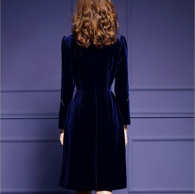 Hiver Col Longues Mode Élégant As Femmes Perles Robe The Haut Manches Mince Grande Pictures Soirée Trapèze Taille Velours De RwAgq