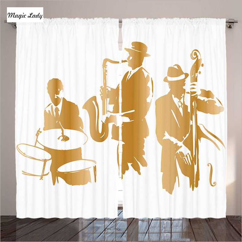 The Musical Curtains Decor Collection Jazz Blues Music