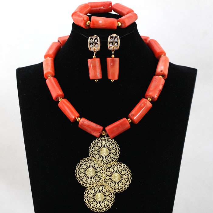 African Pink Coral Necklace Jewelry Set Gold Plate Pendant Necklace Set for Traditional Wedding Free Shipping CNR537