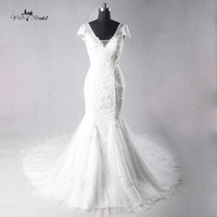 Real Photos Lace Flowers Very Sexy Backless Mermaid Wedding Dresses Vestidos De Noiva Robe De Mariage