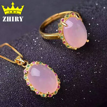 Genuine gems stone jewelry set natural pink chalcedony stone 925 sterling silver gold plated Women ring chain pendant