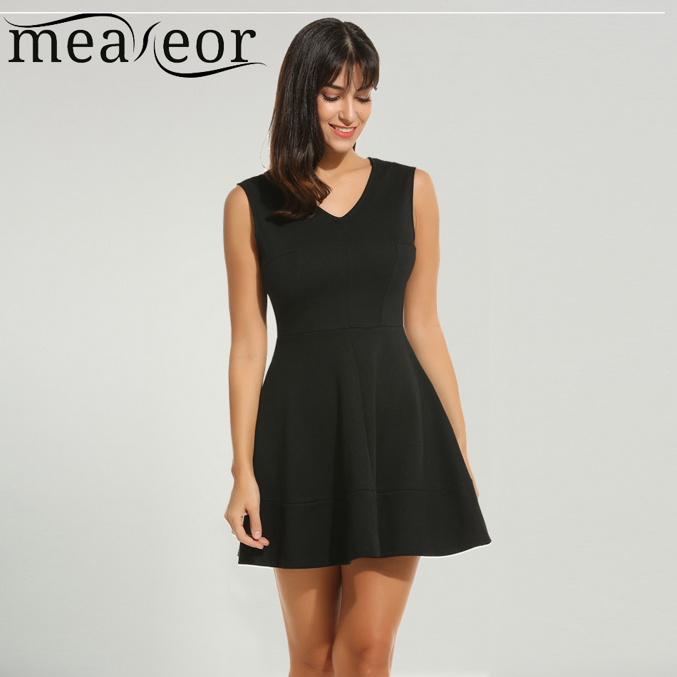 Meaneor Pleated Skater Dress Women Summer Casual Neck Sleeveless Solid Fit and Flare Dresses ...