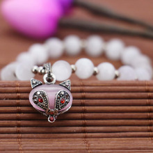 2016 8mm White Cat`s Eye Bracelet Pink Small Fox Hand Pendant Female Bracelet For Women Gift For Girl Fashion Jewelry Making