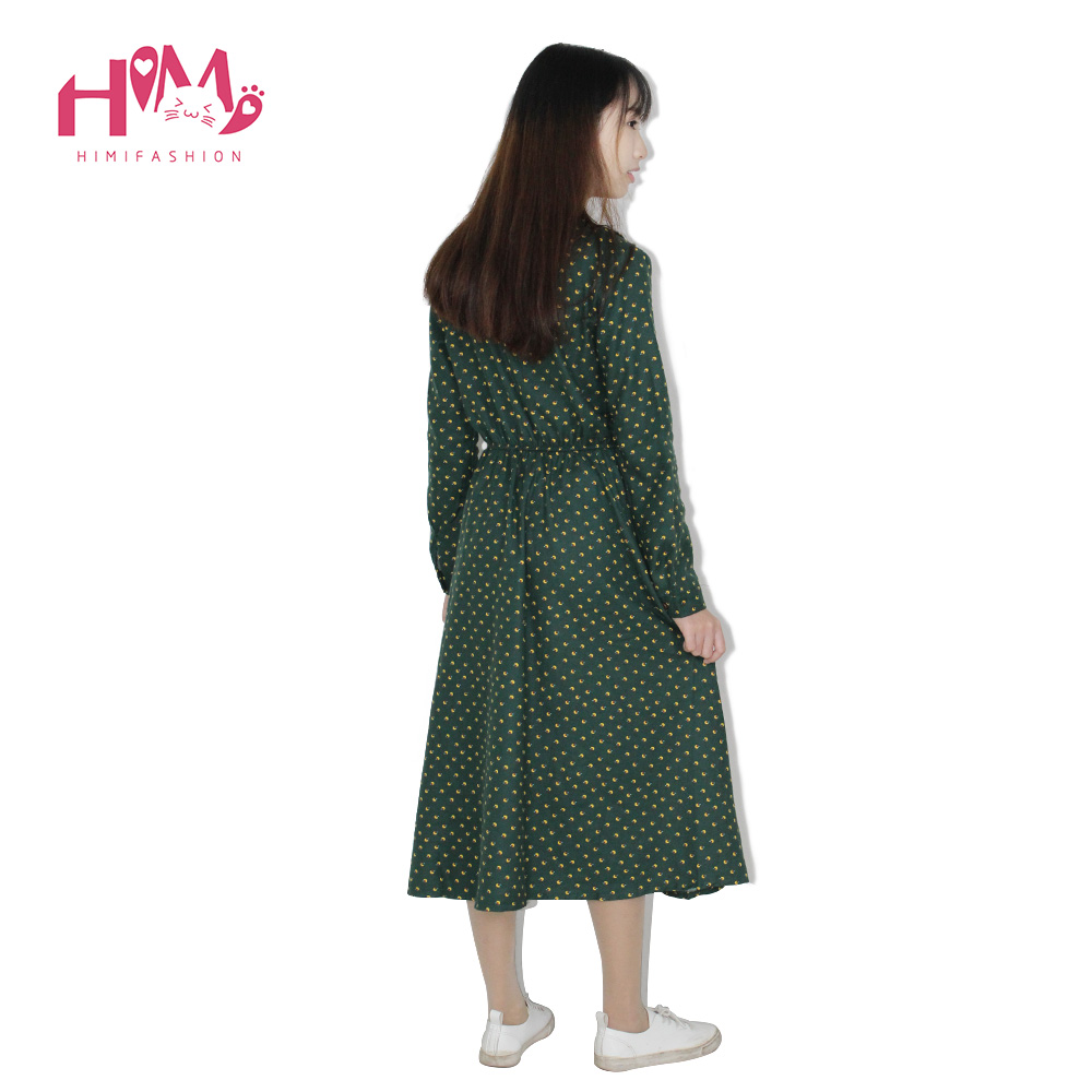 Cute Green Floral Dress Vintage Ladies Dresses Bohemian Style Autumn Winter Long Sleeves All Match New Fashion Long Sleeve Dress 6
