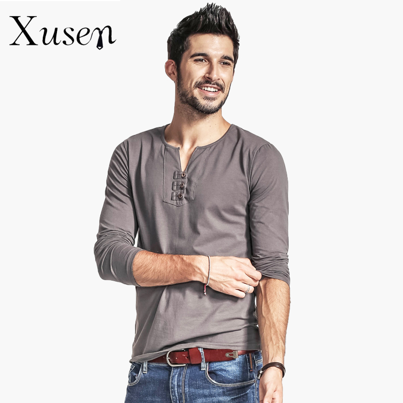 men 39 s t shirt long sleeve cotton jersey slim fit henley shirt 2017 red white blue black split. Black Bedroom Furniture Sets. Home Design Ideas