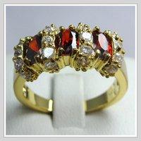 бесплатная доставка! оптовая продажа + изысканный 14 к желтый покрыло-золотые кольцо рубиновое кольцо # 8