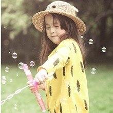 The summer baby girl boy sun hat infant cat ear soft hand woven straw hat baby kids cartoon hat