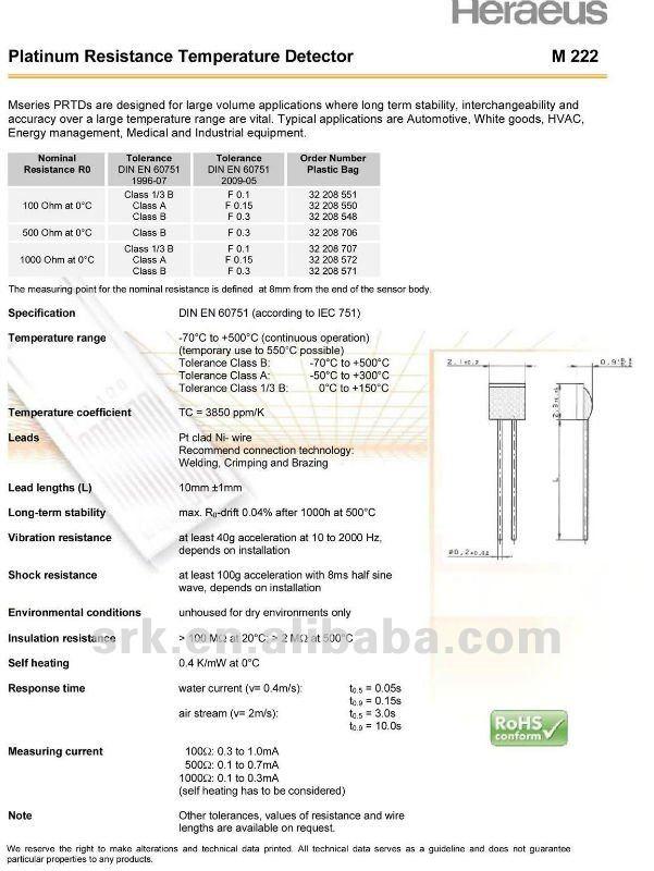 Тонкая пленка Pt100 Платиновое сопротивление температура детектор, класс B, бренд heraeus, Gemerny происхождения, быстрая
