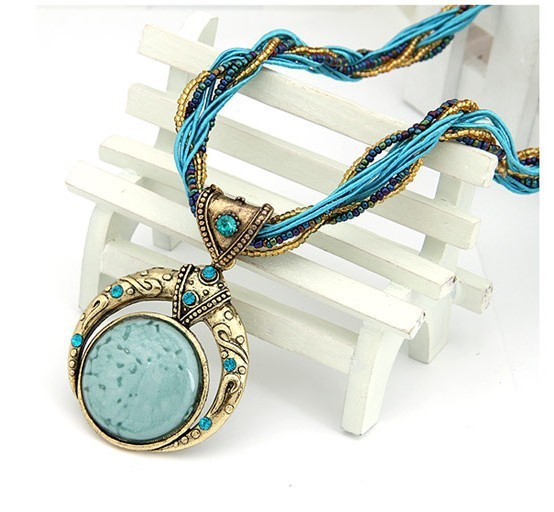 F&U Retro Bohemia Necklace Crack Round Pendant Multilayer Colorful Beads Chain Vintage Necklace Jewelry Fashion For Women 5