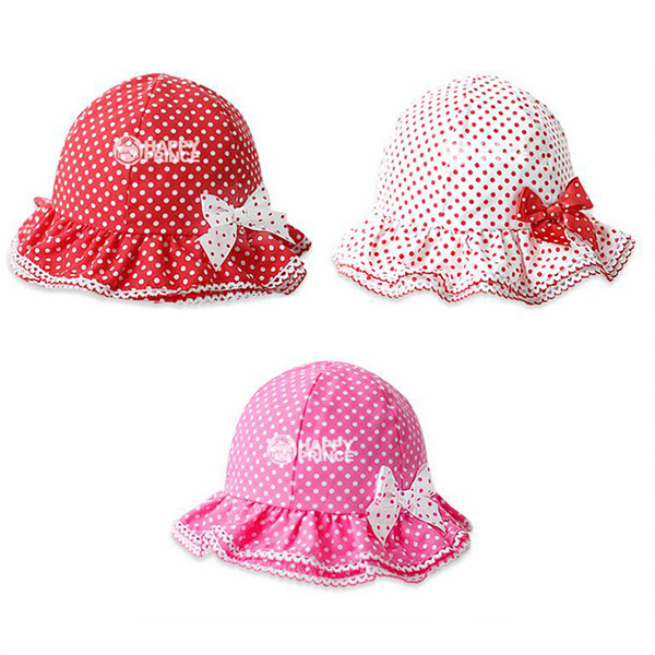 Toddler Baby Girl Cotton Bow-knot Bucket Hat Polka Dots Sun Hat 6 M-2Y For Newborn Baby ...