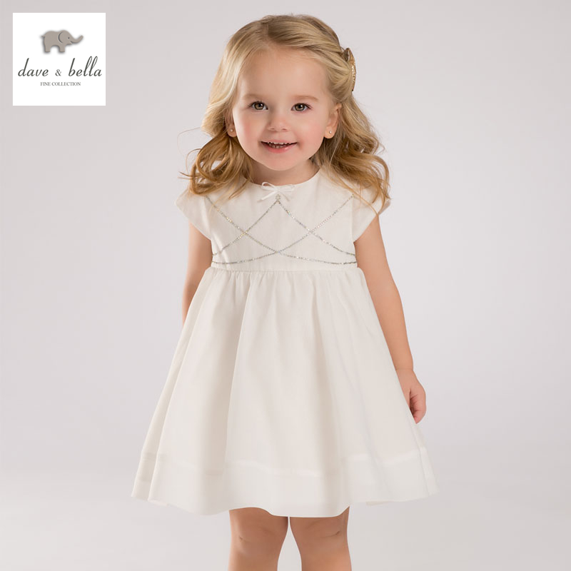 DB3416 dave bella summer baby girl princess dress baby wedding dress kids birthday clothes dress