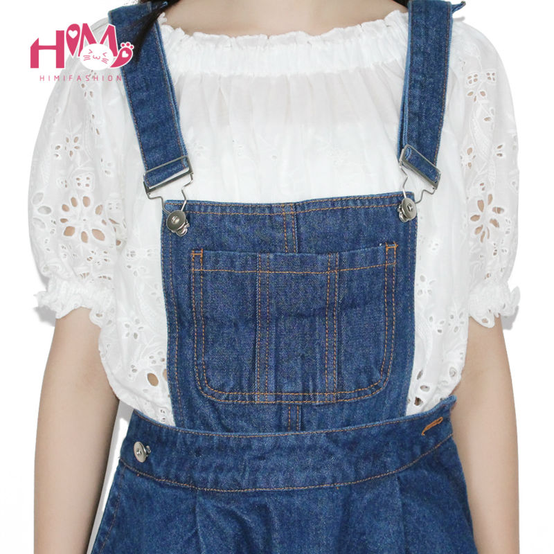 Vivi Japan Sstrap School Denim Dress For Ladies Dark Blue Removable Summer Detachable Student Overalls Dress Women Kawaii Cloth 12