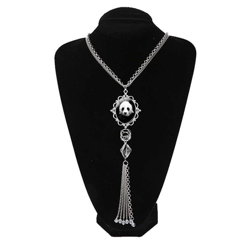 New High Quality Fashion Crystal Rhinestone Cute Silver Panda Necklaces Pendants For Women Tassel Jewelry